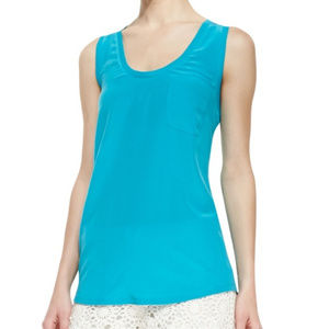 Joie Blue Racerback Silk Blouse Tank Top Small